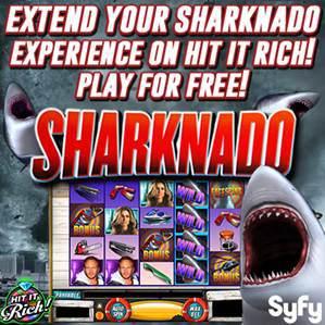 Zynga、ソーシャルスロットゲーム「Hit It Rich! Casino Slots」にておバカドラマ「Sharknado」とタイアップ