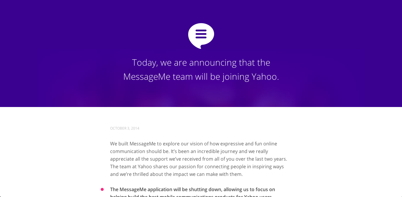 米Yahoo! 、メッセージングアプリの「MessageMe」を買収