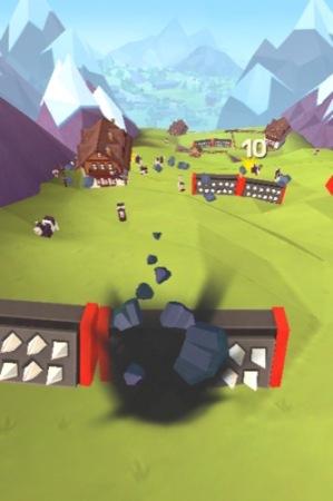 【やってみた】人間や家畜をはね飛ばすと高得点!落石を操作して山間の村を破壊する鬼畜バカゲー「Giant Boulder of Death」4