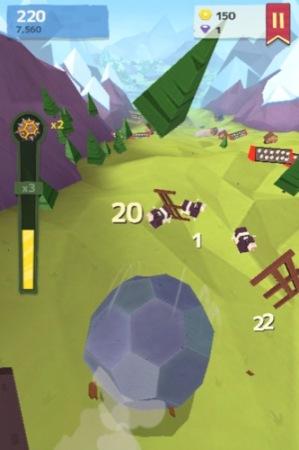 【やってみた】人間や家畜をはね飛ばすと高得点!落石を操作して山間の村を破壊する鬼畜バカゲー「Giant Boulder of Death」3