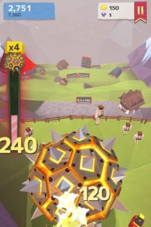 【やってみた】人間や家畜をはね飛ばすと高得点!落石を操作して山間の村を破壊する鬼畜バカゲー「Giant Boulder of Death」7