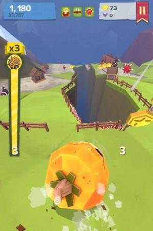 【やってみた】人間や家畜をはね飛ばすと高得点!落石を操作して山間の村を破壊する鬼畜バカゲー「Giant Boulder of Death」13
