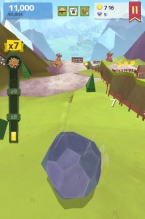 【やってみた】人間や家畜をはね飛ばすと高得点!落石を操作して山間の村を破壊する鬼畜バカゲー「Giant Boulder of Death」6