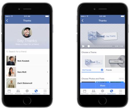 Facebook、友達に感謝を伝える動画を作成できる新機能を公開2