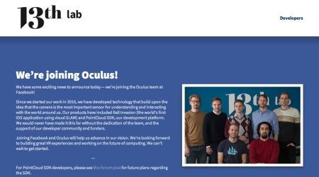 Oculus VR、スウェーデンの3Dモデリング&AR企業の13th Labも買収
