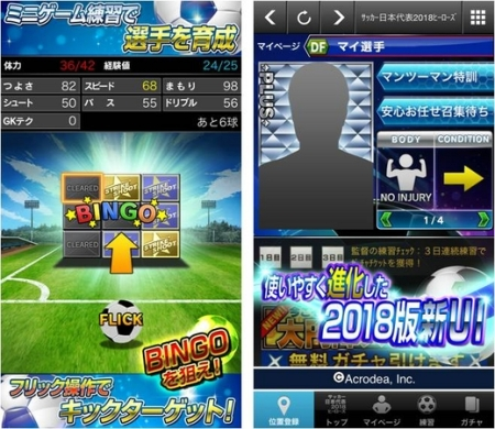 アクロディアのサッカー日本代表チームオフィシャルライセンスゲーム「サッカー日本代表2018ヒーローズ」、100万ユーザー突破2