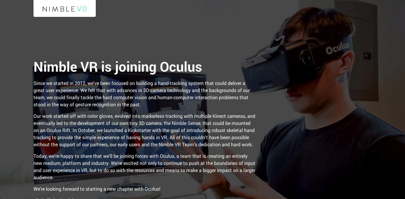 Facebook傘下のOculus VR、ハンドトラッキング技術を開発するNimble VRを買収