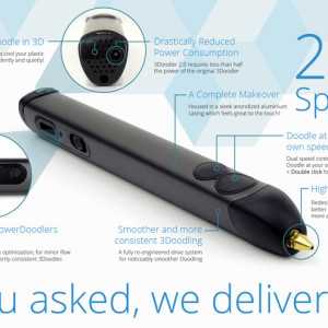 3Dプリンティングペン「3Doodler」が細くなってより使いやすく… Kickstarterにて新型「3Doodler 2.0」の購入予約を受付中