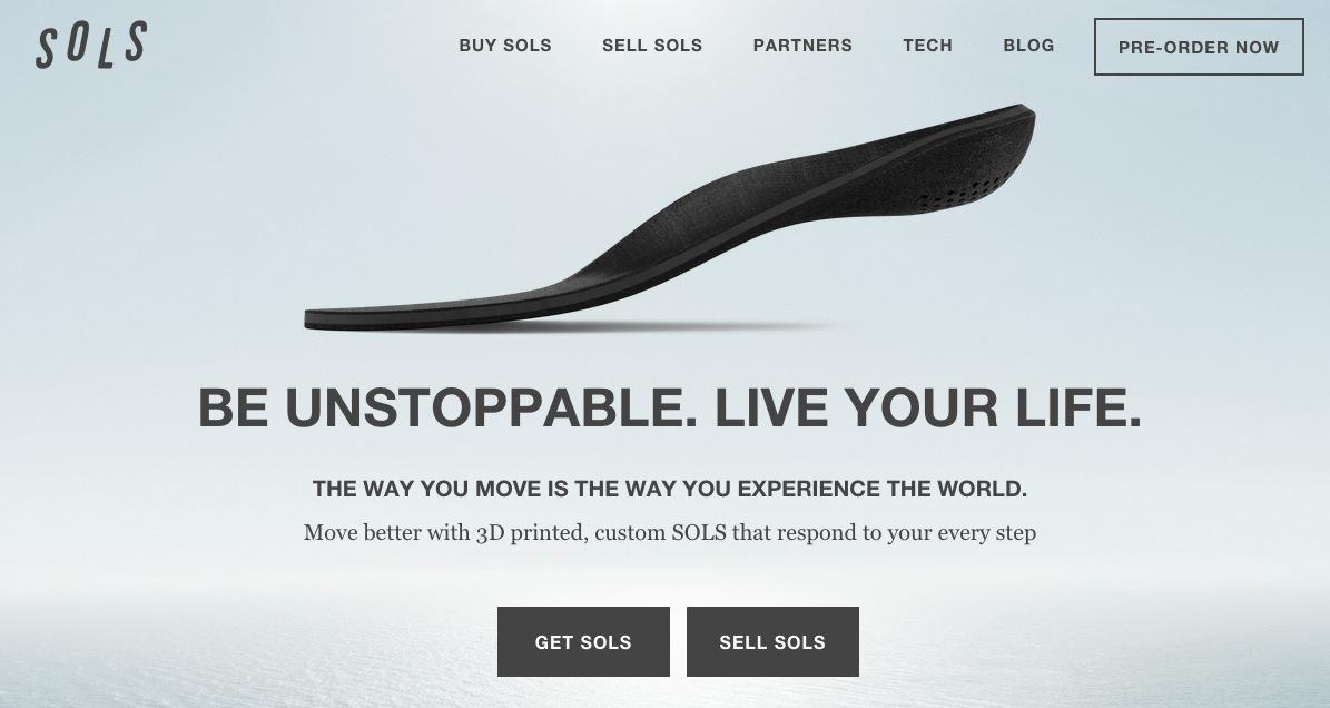 3Dプリンタで自分にピッタリの靴の中敷きが作れるサービス「Sols」、1110万ドルを調達