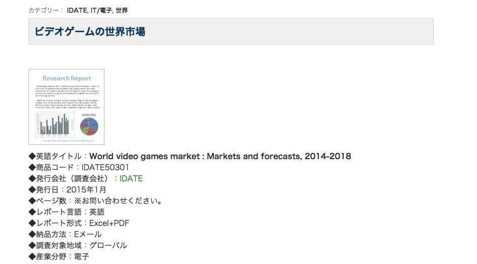 H&I、調査レポート「ビデオゲームの世界市場」を販売開始