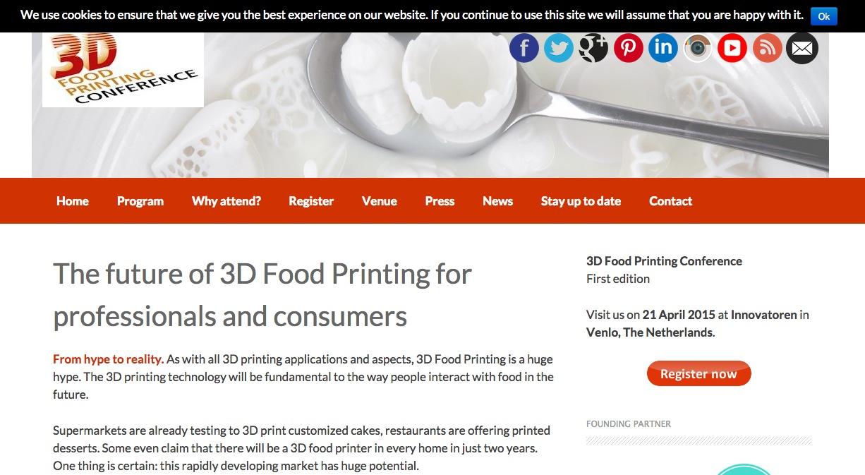 オランダにて食品専用3Dプリンタのカンファレンスイベント「3D Food Printing Conference」開催