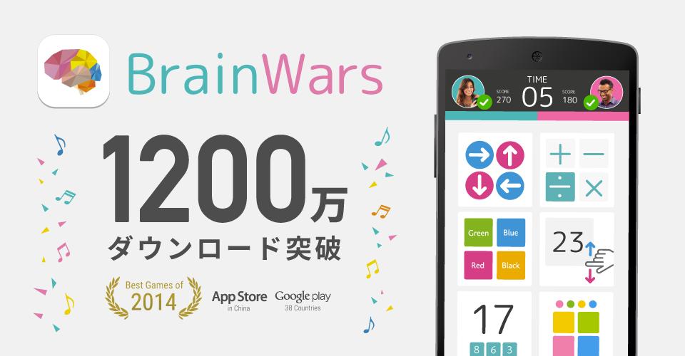 トランスリミットのスマホ向け頭脳ゲーム「BrainWars」、1200万ダウンロードを突破