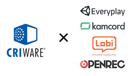 CRIミドルウェア、ゲームプレイ動画共有サービス「Everyplay」「Kamcord」「Lobi」「OPENREC」に対応したSDKを提供開始