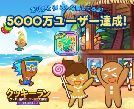 1LINEのスクロールランアクションゲーム「LINE クッキーラン」、全世界5000万ダウンロードを突破