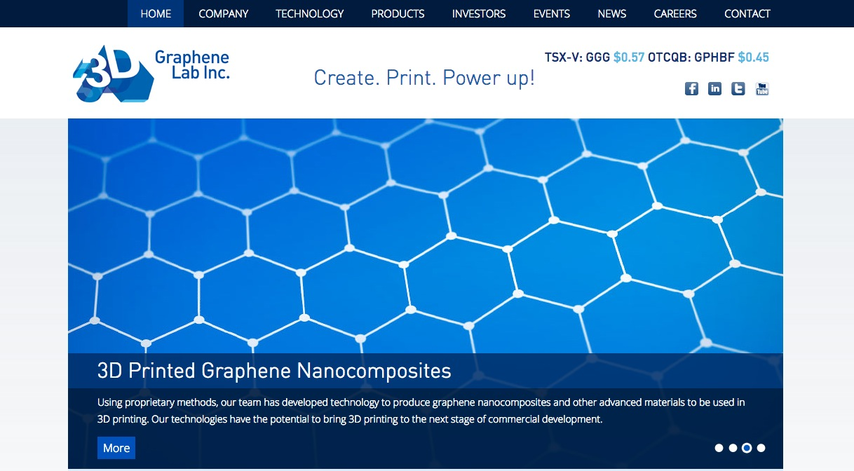 3Dプリンタ関連商品を開発するGraphene 3D Lab、親会社のGraphene Laboratoriesを買収