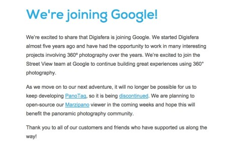 Google、360°パノラマ画像を提供するスタートアップのDigisferaを買収