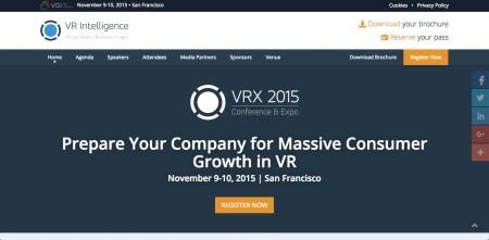 11/9-10、米サンフランシスコにてVR系カンファレンスイベント「VRX 2015」開催