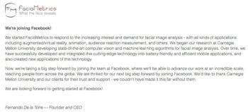 Facebook、顔認識技術のスタートアップFacioMetricsを買収