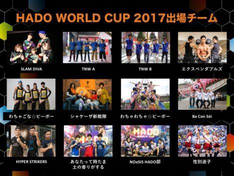 ARスポーツ「HADO」の世界大会 「HADO WORLD CUP 2017」の出場チームとゲストが決定