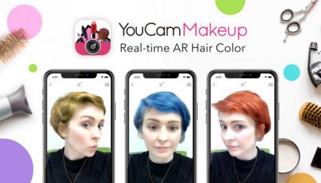 ARメイクアプリ「YouCam メイク」にィープラーニングとAI技術を応用したARヘアカラー機能「Hair Cam」が追加